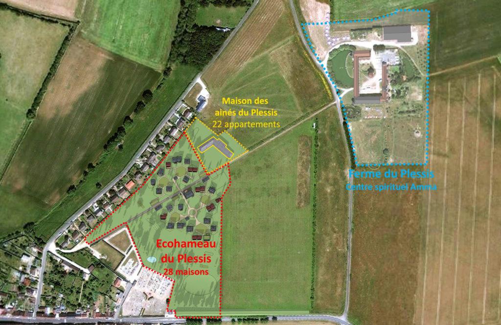 Photographie aérienne avec plan de localisation de la Maison des Aînés